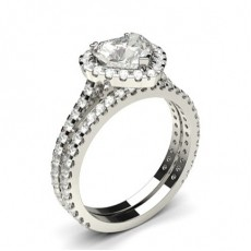 3 Prong Setting Studded Engagement Ring With Matching Band - CLRN987_03