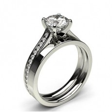 4 Prong Setting Studded Engagement Ring With Matching Band - CLRN988_02