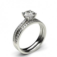 4 Prong Setting Studded Engagement Ring With Matching Band - CLRN990_02
