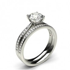 4 Prong Setting Studded Engagement Ring With Matching Band - CLRN990_03