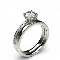 4 Prong Setting Studded Engagement Ring With Matching Band (Available from 0.90ct. to 1.10ct.)