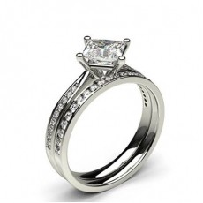 White Gold Princess Bridal Set Diamond Engagement Ring (Available from 0.90ct. to 1.10ct.)
