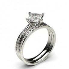 White Gold Princess Bridal Set Diamond Engagement Ring - CLRN991_01