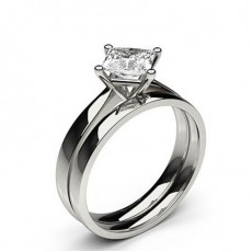 4 Prong Setting Plain Engagement Ring With Matching Band - CLRN992_02