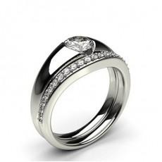 Bague de fiançaille solitaire diamant rond serti invisible avec alliance accordée - CLRN999_01
