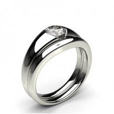Bague de fiançaille solitaire diamant rond serti invisible avec alliance accordée - CLRN999_02