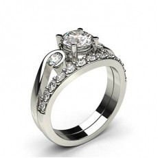 4 Prong Setting Plain Engagement Ring With Matching Band - CLRN1003_02