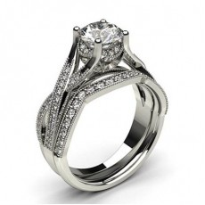 White Gold Bridal Set Diamond Engagement Ring - CLRN1005_01