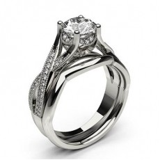 4 Prong Setting Studded Engagement Ring With Matching Band - CLRN1005_02