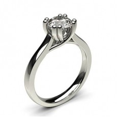 Double Prong Setting Round Diamond Plain Engagement Ring - CLRN1014_01