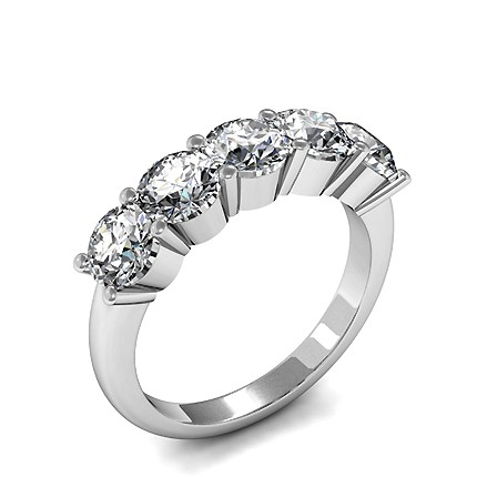 6 Prong Setting Plain Two Stone Ring
