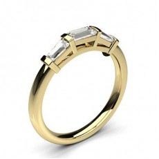 Baguette Yellow Gold Trilogy Diamond Rings