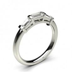 Bague de fiançaille épaulée diamant rond serti 4 griffes avec alliance accordée