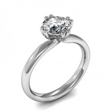 Double Prong Setting Round Diamond Plain Engagement Ring - CLRN1047_01