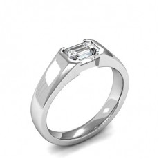Semi Bezel Setting Emerald Diamond Plain Engagement Ring - CLRN1048_01
