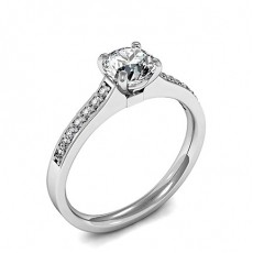 4 Prong Setting Side Stone Engagement Ring - HG0597_P21
