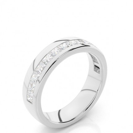 Alliance courbée profil plat diamant rond serti pavé