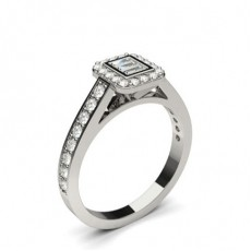 Channel Setting Round and Baguette Diamond Cluster Ring - CLRN1227_01