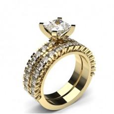 Smaragd Gelbgold Schulter Diamanten mit passendem Verlobungsringe