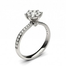 White Gold Cluster Diamond Engagement Ring - CLRN1294_01
