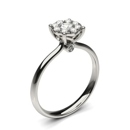 Pressure Setting Cluster Diamond Engagement Ring