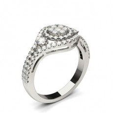White Gold Cluster Diamond Engagement Ring - CLRN1300_01