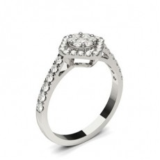 White Gold Cluster Diamond Engagement Ring - CLRN1301_01