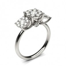 Silver Diamond Rings Three Stone