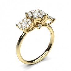 Yellow Gold Three Stone Diamond Rings