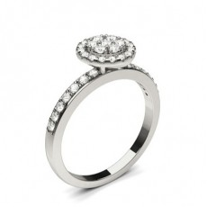 White Gold Cluster Diamond Engagement Ring - CLRN1303_01