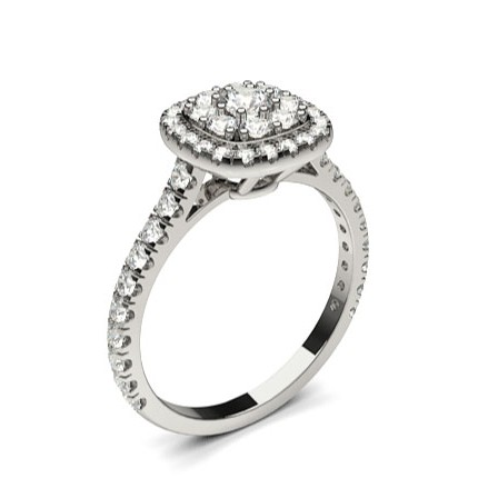 4 Prong Setting Cluster Diamond Engagement Ring