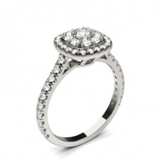 White Gold Cluster Diamond Engagement Ring - CLRN1305_01