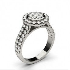 White Gold Cluster Diamond Engagement Ring - CLRN1306_01