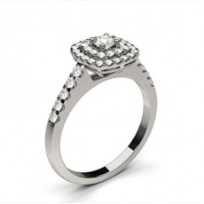 White Gold Cluster Diamond Engagement Ring - CLRN1307_01