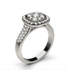 White Gold Cluster Diamond Engagement Ring - CLRN1308_01