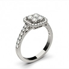 White Gold Cluster Diamond Engagement Ring - CLRN1309_01
