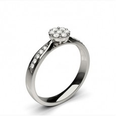 White Gold Cluster Diamond Engagement Ring - CLRN1311_01