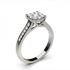 White Gold Diamond Engagement Cluster Rings