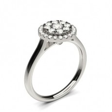 Round Diamond Cluster Rings