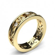 Round Yellow Gold Contemporary Wedding Bands Bands