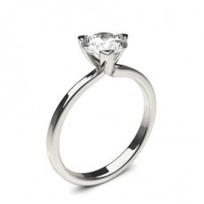 3 Prong Setting Round Diamond Plain Engagement Ring