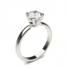 4 Prong Setting Round Diamond Plain Engagement Ring - CLRN1365_01