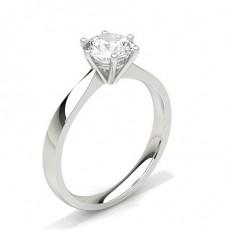 Bague de fiançailles solitaire épaulé diamant rond serti 4 griffes et illusion