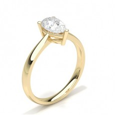 Pear Yellow Gold Classic Solitaire Engagement Rings