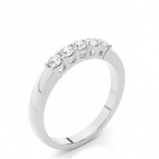 Semi-Bezel Setting Round Diamond Plain Engagement Ring