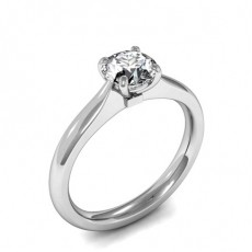 4 Prong Setting Round Diamond Plain Engagement Ring - CLRN1454_01