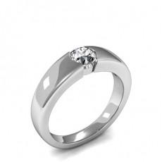 Bague de fiançailles épaulée halo diamant rond serti 4 griffes et pavé