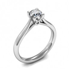 4 Prong Setting Round Diamond Plain Engagement Ring - CLRN1478_01