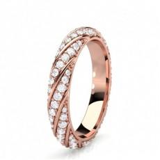 Round Rose Gold Full Diamond Eternity Rings