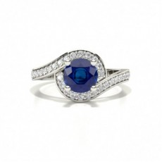 Round Platinum Gemstone Engagement Rings
